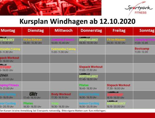 NEUE Kurspläne ab 12.10.2020